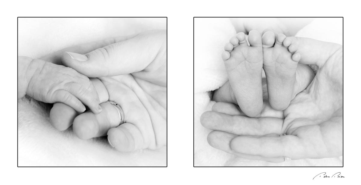 newborn bw collage